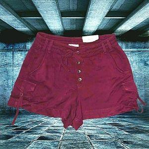 Women's Maroon Rayon Shorts with 6 Pockets - 1/2
